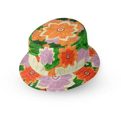 Orange flower power small brim bucket hat