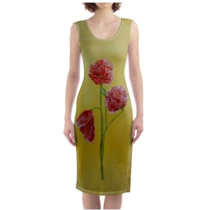Poppies design Bodycon Dress Clothing and Accessories