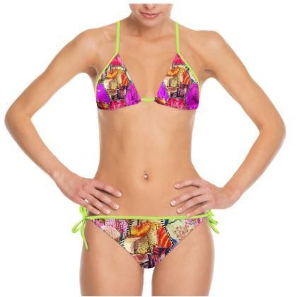 Bikini JAGUAR PINK BABY mit Limetten Band size M cup B