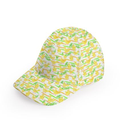 'Yellow Ducks in puddles' Baseball Cap