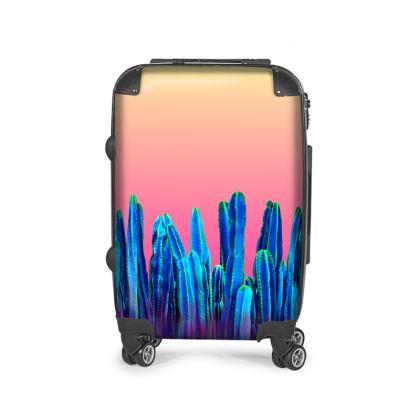 Sunny Blue Cactus Desert Suitcase