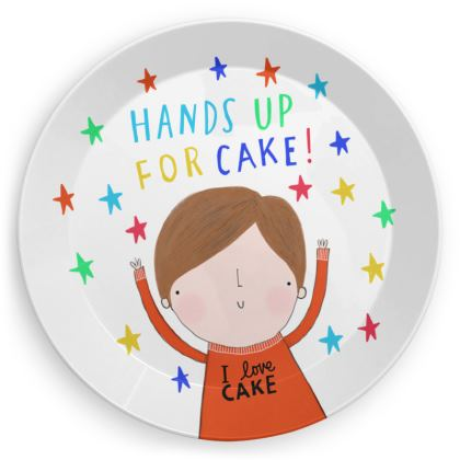'Hands up for cake' plates