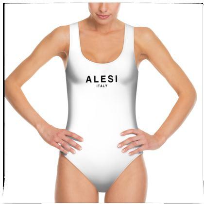 Alesi Signature One Piece Swimsuit- White/Black