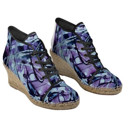 Whimsical Skyscape Ladies Wedge Espadrilles