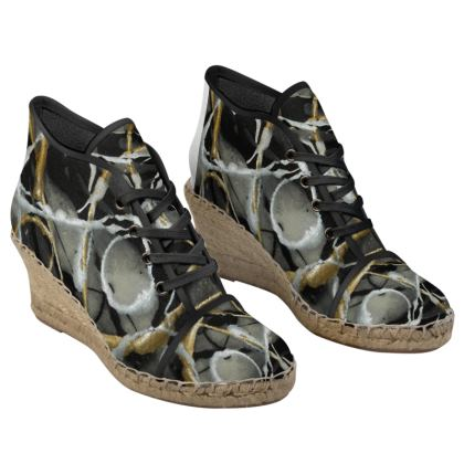 Silver and Gold at Dusk Ladies Wedge Espadrilles