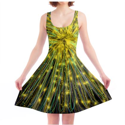Gold Vortex Constellation Skater Dress