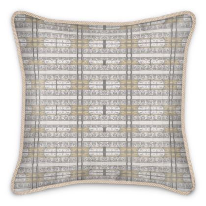'Antiquity' Silk Cushion in Cream and White