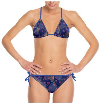 Fun Floral Bikini - Navy