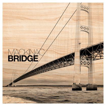 Wood grain Mackinac Bridge Cushion