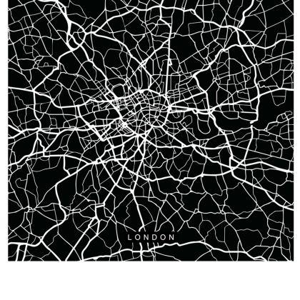 Black Map of London Handbag