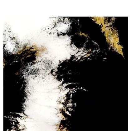 Royal Black Abstract Art Handbag
