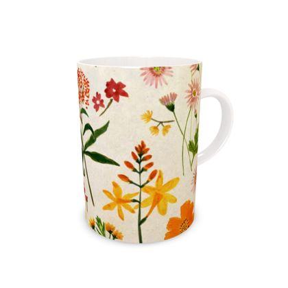 Botanical Flowers Bone China Mug by Lucinda Kidney