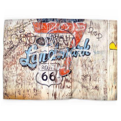 Historic Route 66 Graffiti Fence Tea Towels