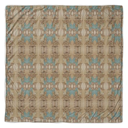 'Nefertari' Throw in Cream and Blue