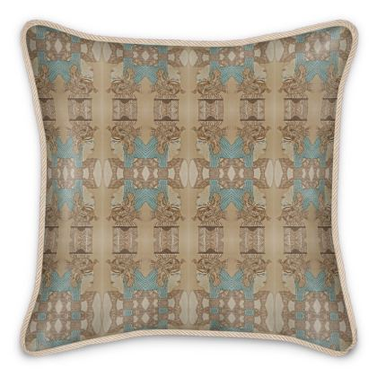 'Nefertari' Silk Cushion in Cream and Blue