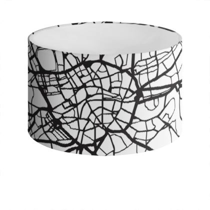White London Map Drum Lamp Shade