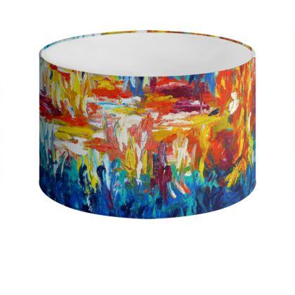 Original Colourful Abstract Drum Lamp Shade