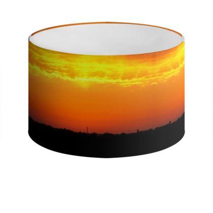 City Skyline at Sunset Drum Lamp Shade