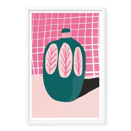 Pink and Teal Vase Framed Art Prints