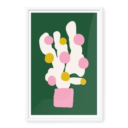 Green Cactus Framed Art Prints