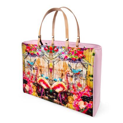 Edle shopper bag IRINAS FLAMINGOS, Leder