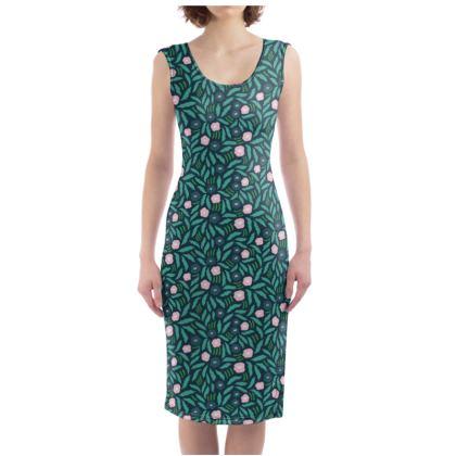 Free Flow Flowers (jungle green) Bodycon Dress