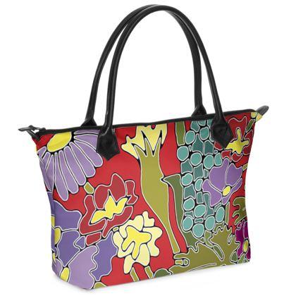 Springtime red zip top handbag