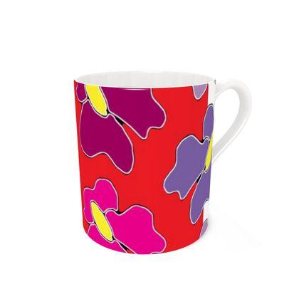 Springtime red bone china mug