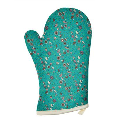 Teal Mushrooms Oven Glove