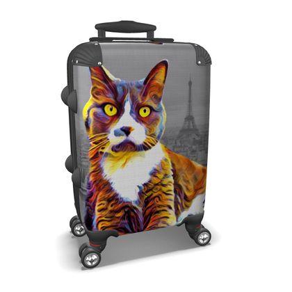 Abstract Paris Cat Suitcase
