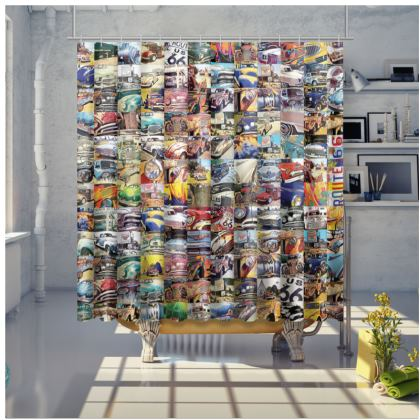 Route 66 Abstract Vintage Cars Shower Curtain