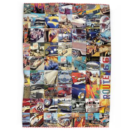 Route 66 Abstract Vehicles Tea Towels