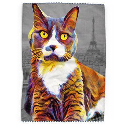 Abstract Paris Cat Tea Towels