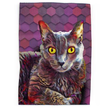 Abstract Cat Geometric Tea Towels