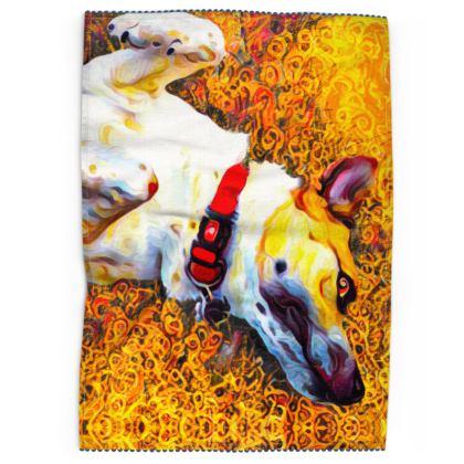 Abstract Happy Dog Tea Towels