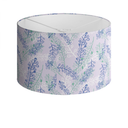 Drum Lamp Shade with Purple 'Falling Flowers' Design