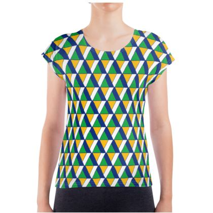 Top Triangle Ladies T Shirt in Dark Blue and Green