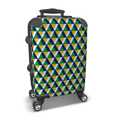Top Triangle Suitcase in Dark Blue and Green
