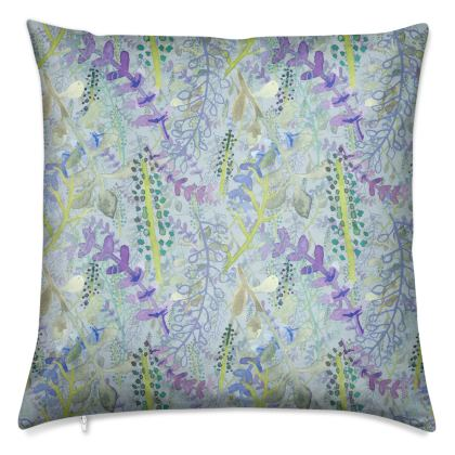 Luxury Velvet Cushion with Blue, Green and Purple Floral Print.