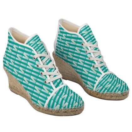 Zig My Zag Ladies Wedge Espadrilles in City Green