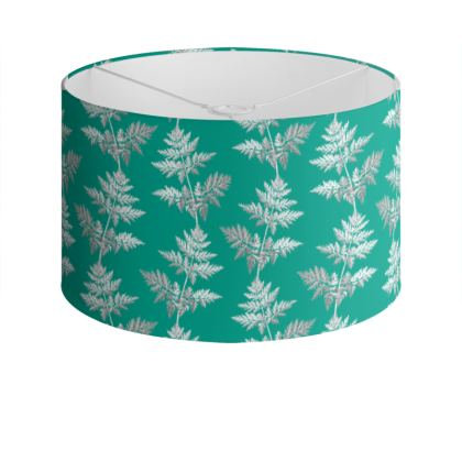 Forest Fern Drum Lamp Shade in Jade Green