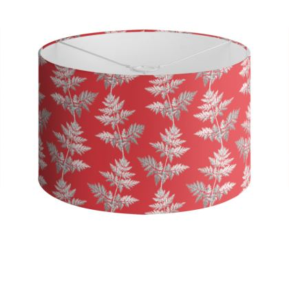 Forest Fern Drum Lamp Shade in Regal Red