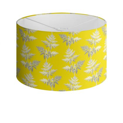 Forest Fern Drum Lamp Shade in Bright Yellow