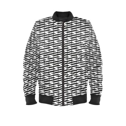 Zig My Zag Ladies Bomber Jacket in Black and White