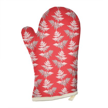 Forest Fern Oven Glove in Regal Red