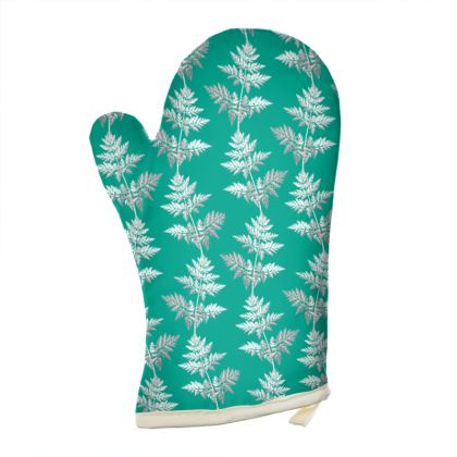 Forest Fern Oven Glove in Jade Green