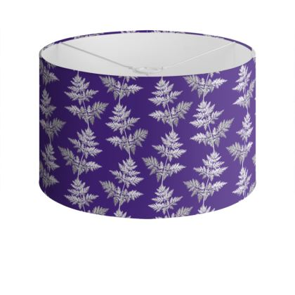 Forest Fern Drum Lamp Shade in Violet