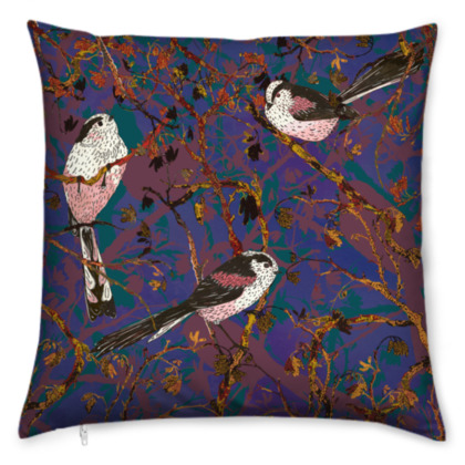 Lovely Little Long-tailed Tits Cushion