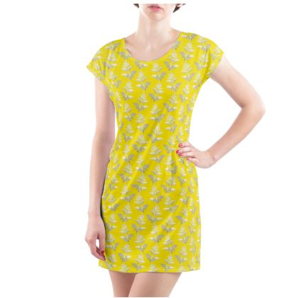 Forest Fern Ladies Tunic T Shirt in Bright Yellow