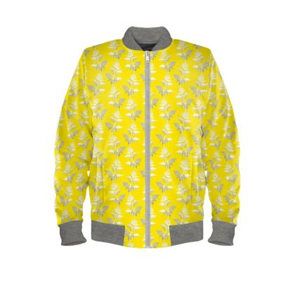 Forest Fern Ladies Bomber Jacket in Bright Yellow